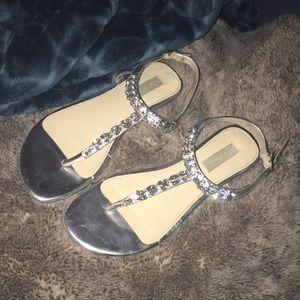 Silver crystal embellished sandals